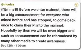 快讯:pi币创始人英文群12月12日互动的3条信息透露